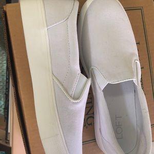Loft White Canvas slip on sneakers